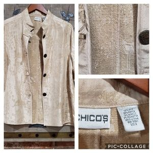 CHICO'S Silk Blend Asian Inspired Jacket Size 3